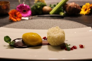 Kokos-Reismehlküchlein mit Mangosorbet