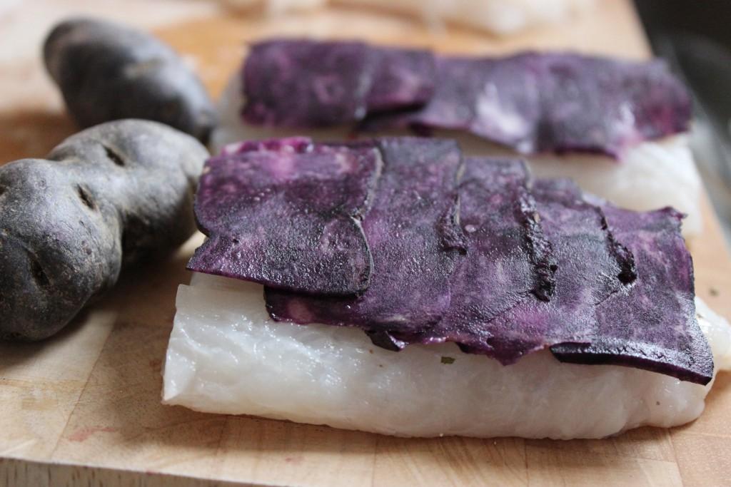 Kabeljau mit lila Kartoffeln