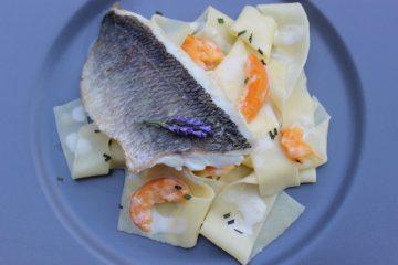 Dorade auf Pappardelle mit Aprikosen-Lavendelsauce