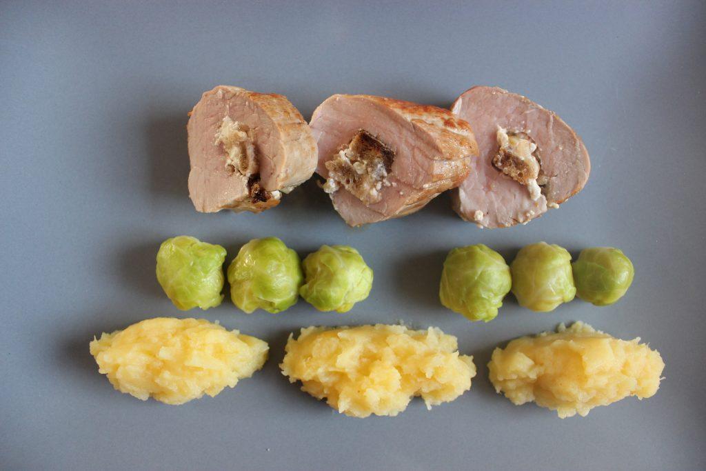Gefüllte Schweinelende mit Steckrüben-Kartoffel-Stampf und Rosenkohl