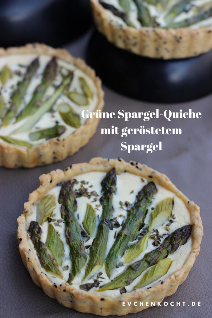 Grüne Spargel-Quiche mit geröstetem Spargel
