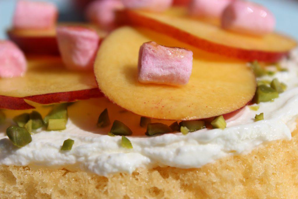 Biskuit-Nektarinentörtchen mit Schips und gerösteten Marshmallows