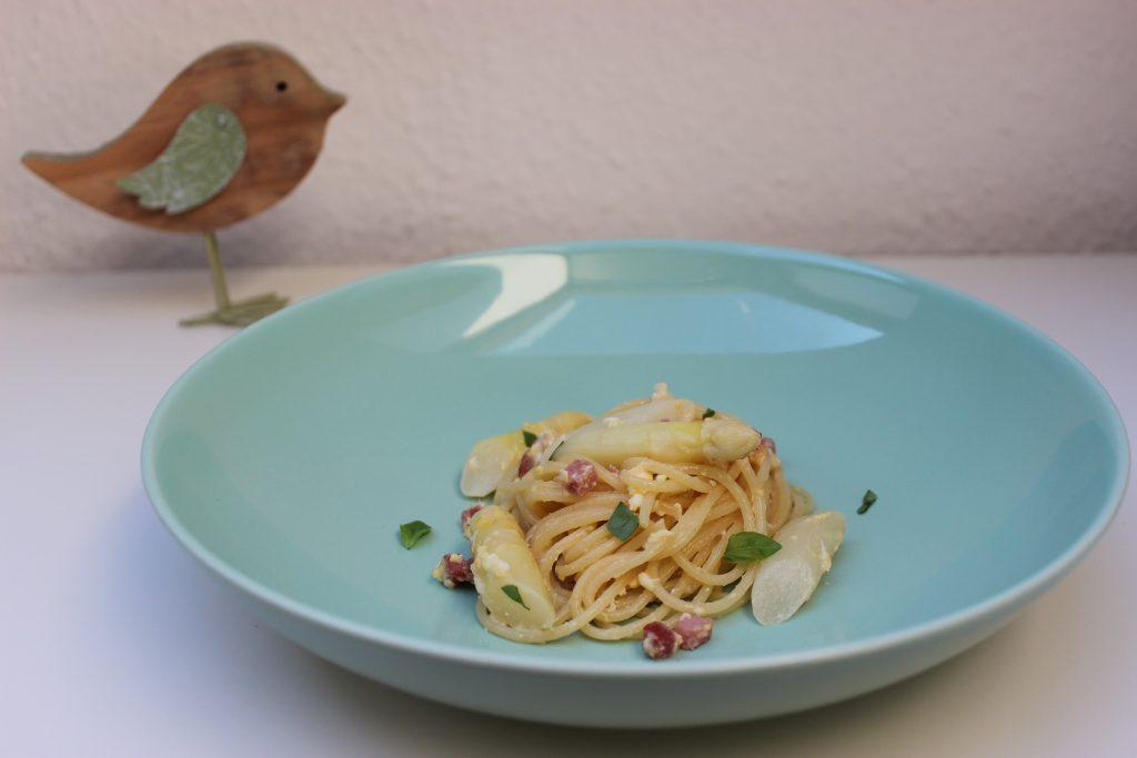 Spargel-Spaghetti Carbonara