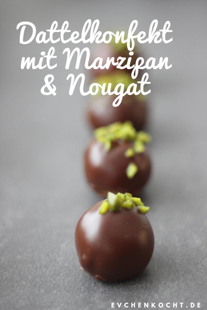 Dattelkonfekt mit Marzipan und Nougat