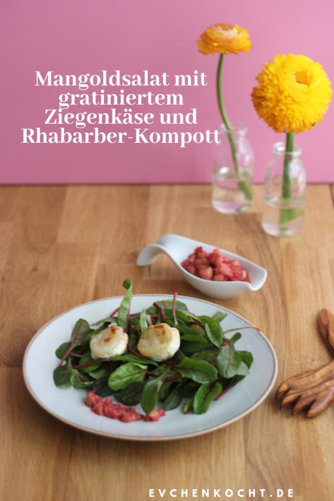 Mangoldsalat mit Honig-Thymian-Dressing, gratiniertem Ziegenkäse und Rhabarber-Kompott
