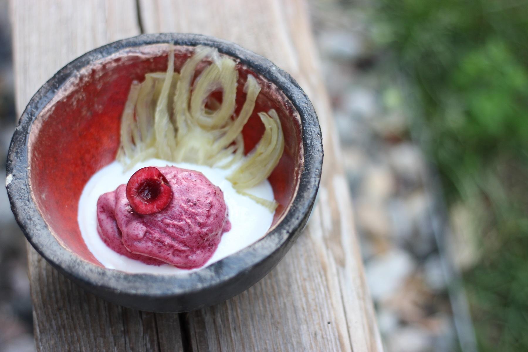 Süßer Fenchel mit Kirschsorbet und Vanille-Ricotta