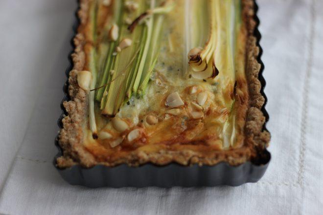 Lauch-Gorgonzola-Tarte mit Emmervollkornmehl