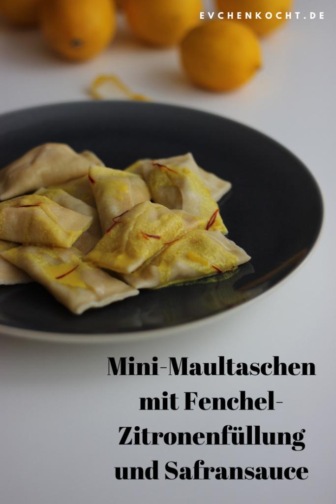 Mini-Maultaschen mit Fenchel-Zitronenfüllung und Safransauce