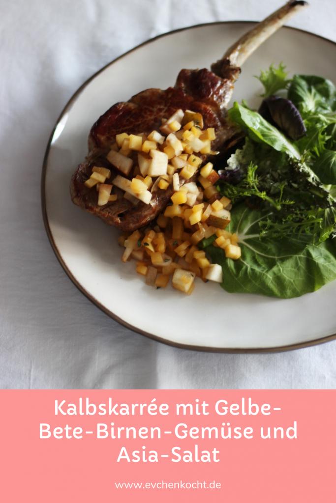 Kalbskarrée mit Gelbe-Bete-Birnen-Gemüse und Asia-Salat